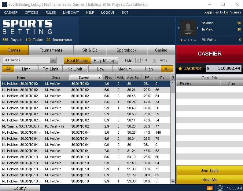SportBetting Poker клиент