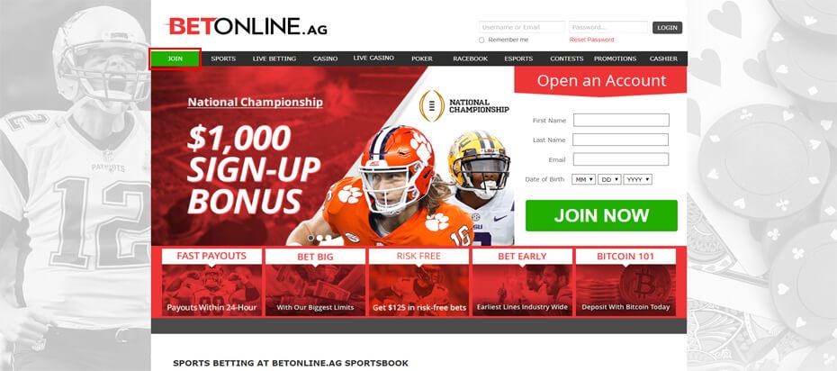 БетОнлайн регистрация: кнопка на сайте